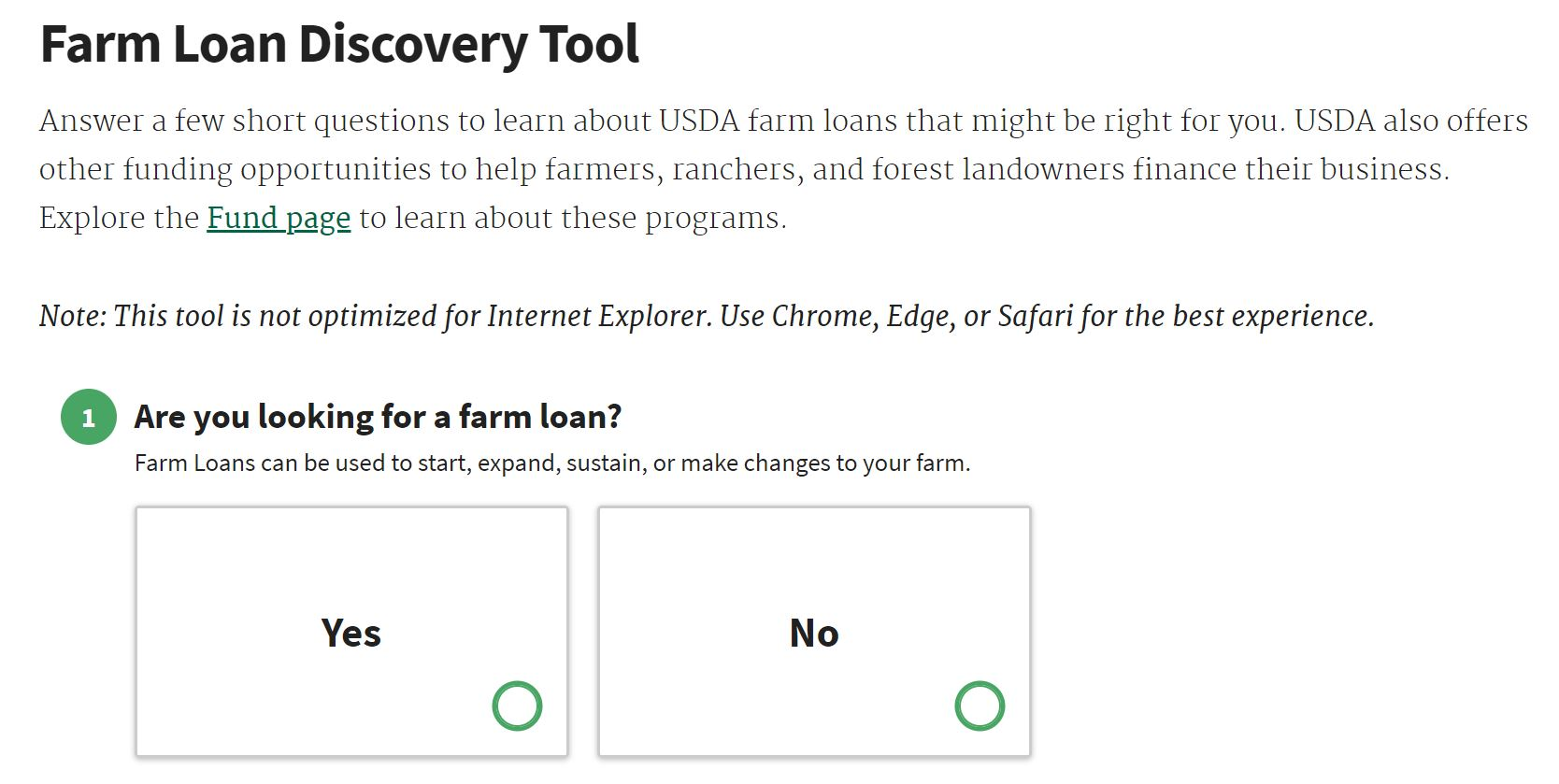 Farm Loan Discovery Tool Question 1