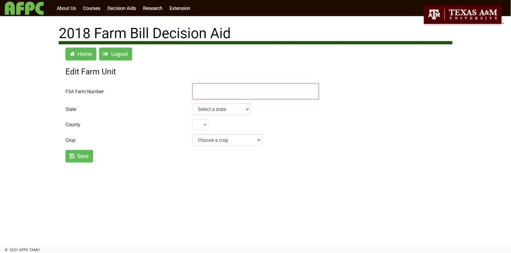 screen capture of tool (2018 Farm Bill Aid)
