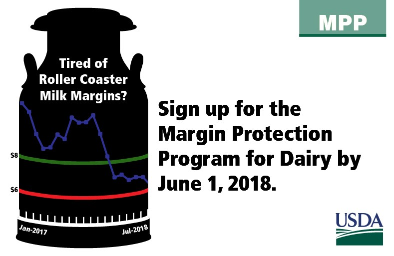 Sign up for the Margin Protection Program for Dairy by June 1, 2018.