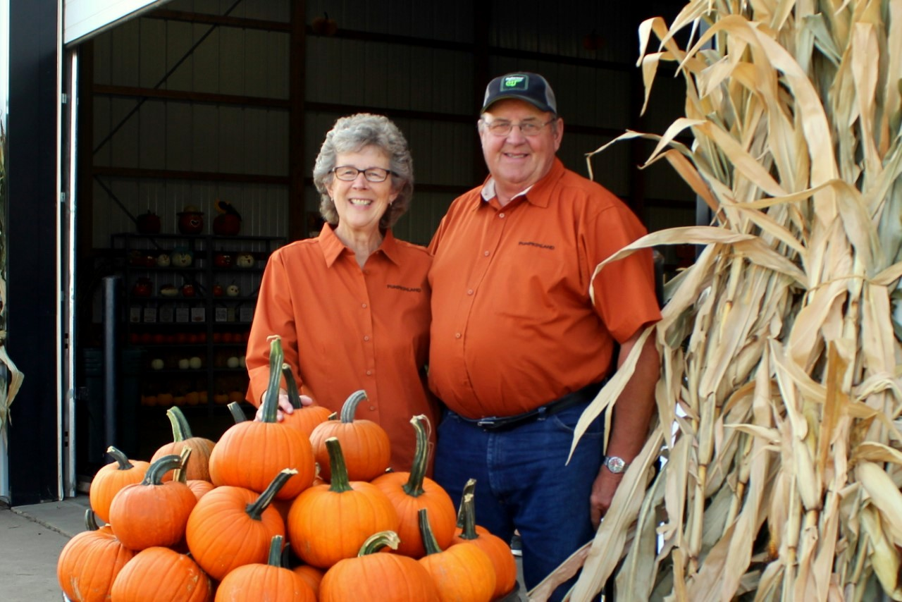 "Helen Huitink and her late husband, Dave, are affectionally known to the Orange City community as ""Grandma and Grandpa Pumpkin."" Photo courtesy of Pumpkinland."