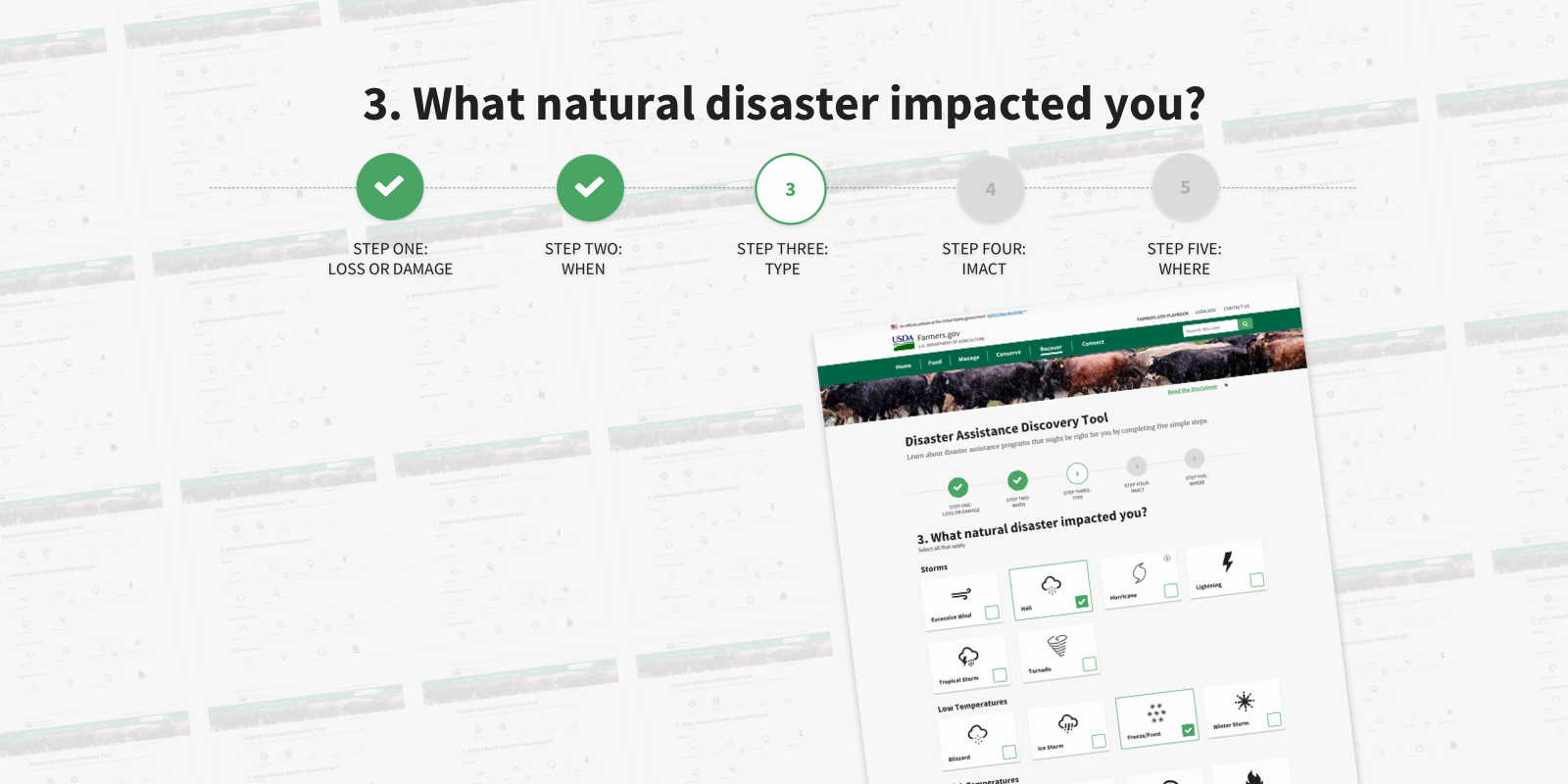 Screenshot of the farmers.gov Disaster Assistance Discovery Tool
