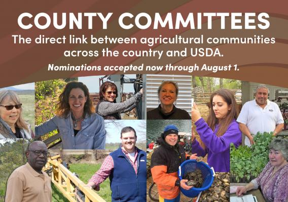 Collage of FSA county committee members with a call to join the local FSA county committee