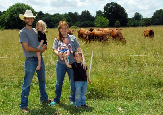 Adam Bowman and his family raise grass-fed beef cattle and lambs in Lawrence County, Missouri.