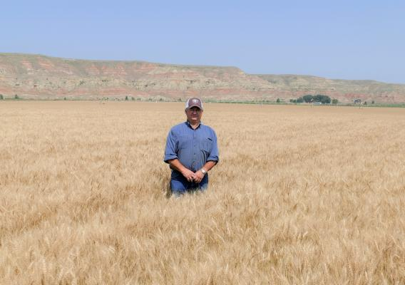 Bill Schlenker stands in a field on his farm