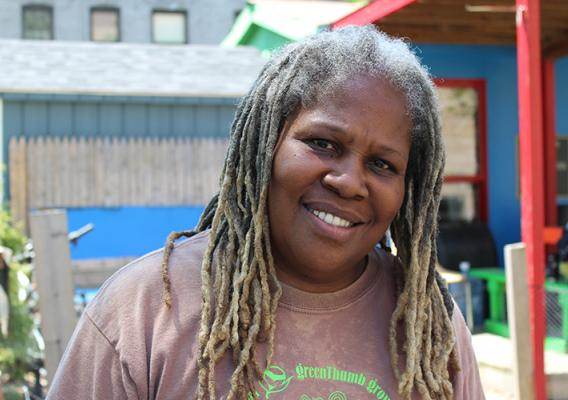 Karen Washington, an urban farmer in New York City who founded the Garden of Happiness and community farmers market, La Familia Verde Community Garden Coalition.