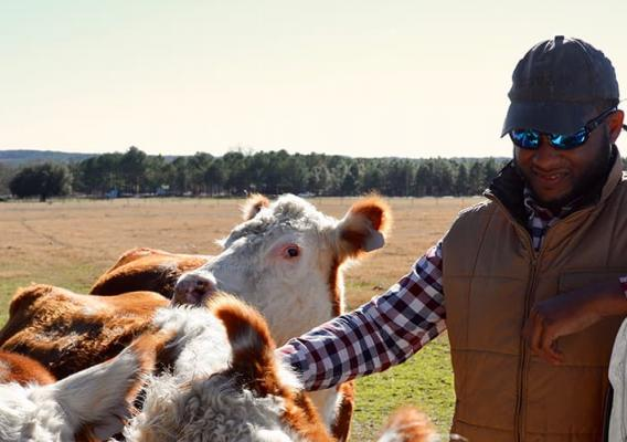 Christopher Sumpter Jr., a fourth-generation farmer from Borden, South Carolina.
