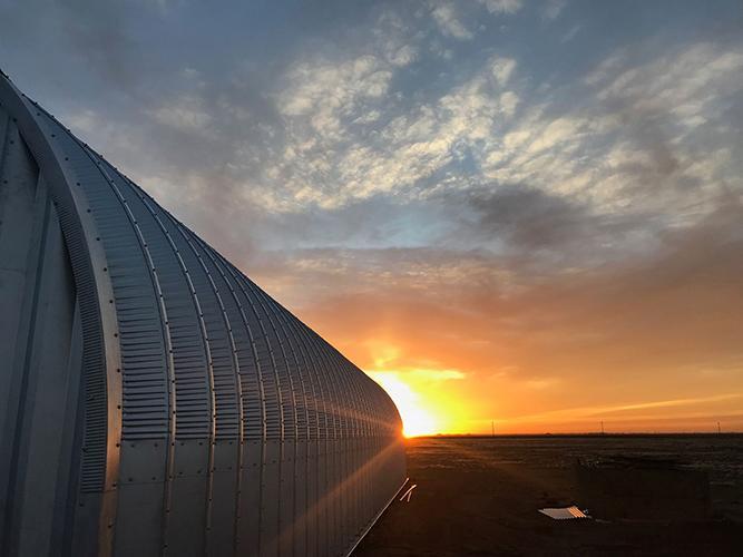 Sunrise outside of grow facility.