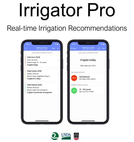 Examples of Irrigator Pro's smartphone app display.