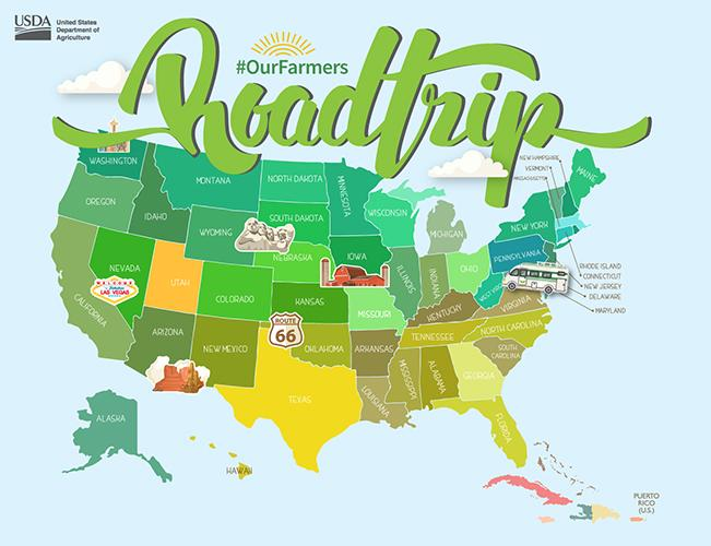 An #OurFarmers roadtrip map of the United States.