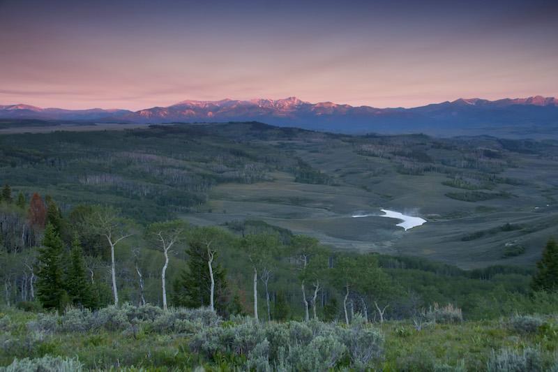 Sunset over Rolling Thunder Ranch in Wyoming by Mark Gocke.