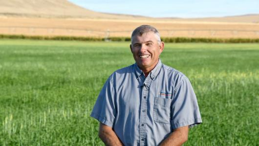 Charlie Barlow, a third-generation farmer who started farming near the Nyssa, Oregon.