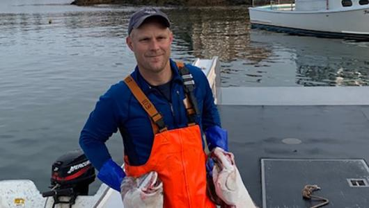 Jeremy Cates, a fourth-generation lobster, scallop, and halibut fisherman in Cutler, Maine